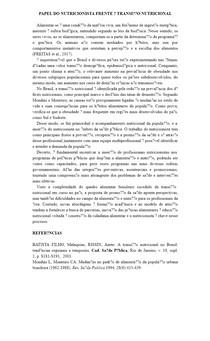 PAPEL DO NUTRICIONISTA FRENTE À TRANSIÇÃO NUTRICIONAL