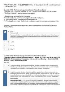 PROVA OBJETIVA NOTA 100 ASSISTÊNCIA SOCIAL