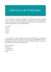 Exercício de mediadores inflamátorios com gabarito - Patologia