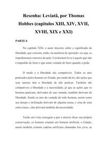 Resenha - Leviatã - Thomas Hobbes - Cap XXI