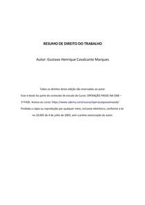 RESUMO COMPLETO DE DIREITO DO TRABALHO - OAB/ GRADUAÇÃO