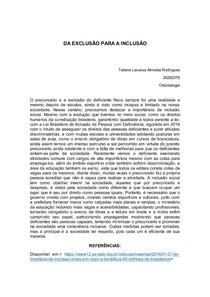 REDAÇÃO SOBRE DEFICIENTES (DA EXCLUSÃO PARA A INCLUSÃO)