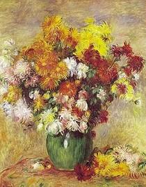 Renoir - Vase of Chrysanthemums Green
