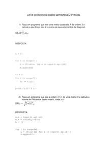 Exercícios sobre matrizes em python
