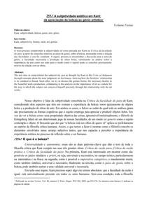 FREITAS, Verlaine - A subjetividade estética em Kant:  da apreciação da beleza ao gênio artístico