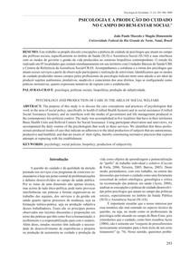 Psicologia e a produção do cuidado no campo do bem-estar social_2009