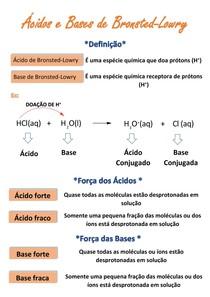 Resumo - teoria ácido-base de Bronsted-Lowry