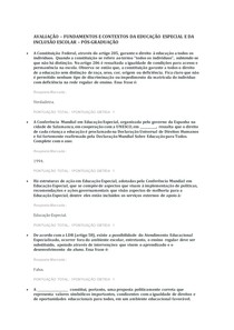 AVALIAÇÃO FUNDAMENTOS E CONTEXTOS DA EDUCAÇÃO ESPECIAL E DA INCLUSÃO ESCOLAR
