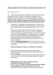 Atividade de Direito Administrativo II