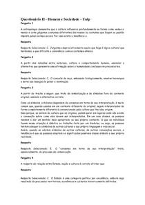 Questionário II - Homem e Sociedade