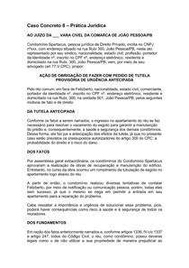 Caso Concreto 8 - AÇÃO DE OBRIGAÇÃO DE FAZER COM PEDIDO DE TUTELA PROVISÓRIA DE URGÊNCIA ANTECIPADA