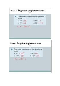 EXERCÍCIOS RESOLVIDOS DE ÂNGULOS COMPLEMENTARES E SUPLEMENTARES