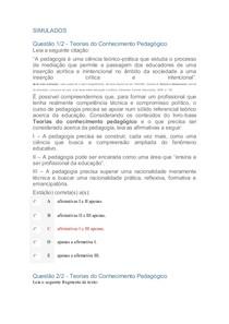SIMULADOS TEORIAS DO CONHECIMENTO PEDAGOGICO