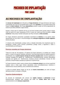 [RESUMO] MICOSES DE IMPLANTAÇÃO