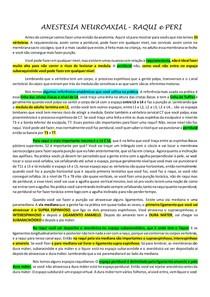 Anestesio - raqui e peridural