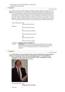 TÓPICOS DE ATUAÇÃO PROFISSIONAL PEDAGOGIA - QUESTIONÁRIO UNIDADE II