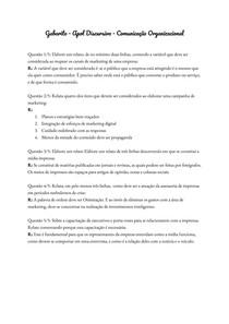 Gabarito - Apol Discursiva - Comunicação Organizacional