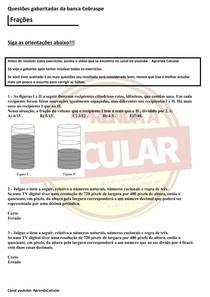 Questões gabaritadas da Banca Cebraspe , Frações#EXCLUSIVOPD