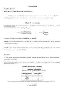 Soluções - Medidas de concentração - Química - Resumo, exemplos e exercícios