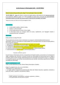 Lei de Acesso à Informação 12.527/2011 - para concurso