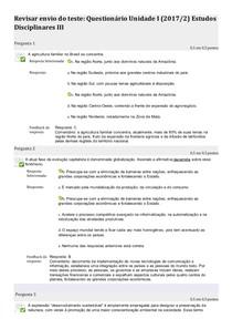 Questionário Unidade I  Estudos Disciplinares III