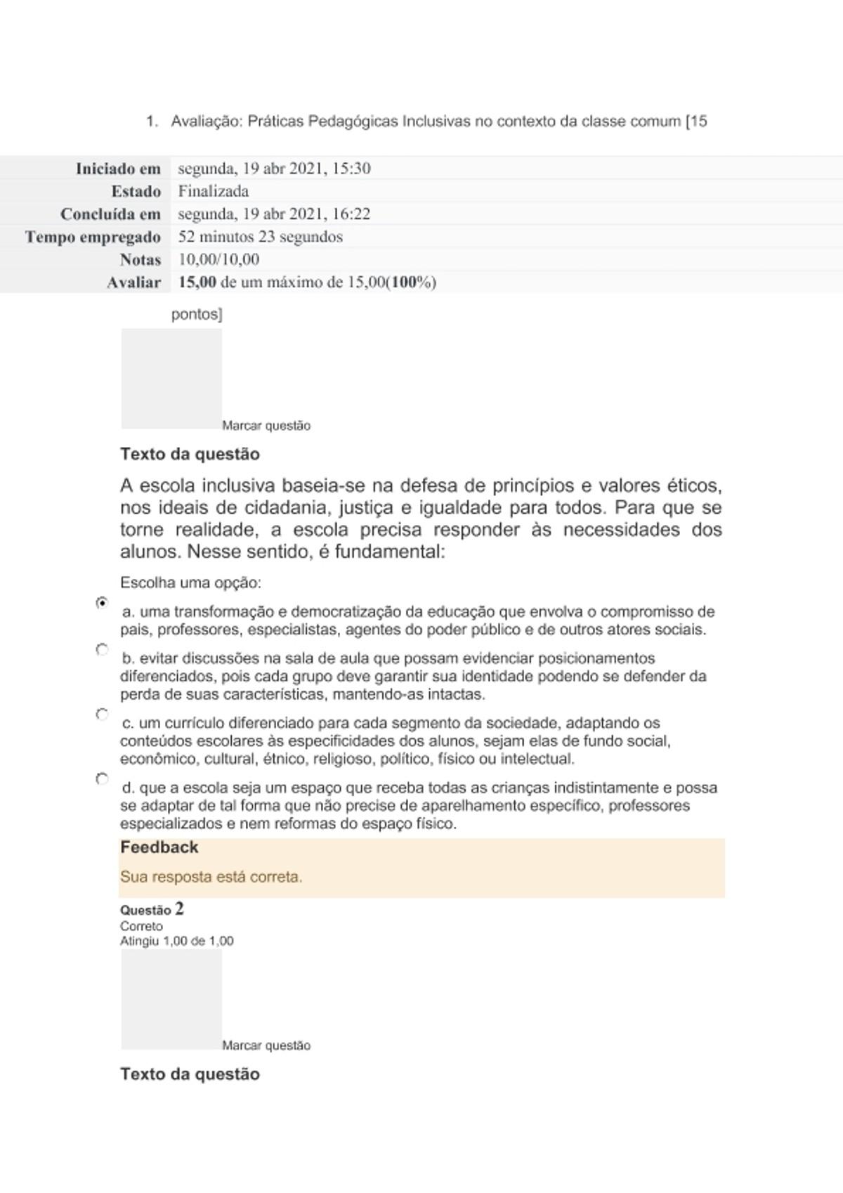 Pre-visualização do material prova 2 Avaliação_Práticas Pedagógicas Inclusivas no contexto da classe comum - página 1