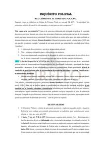 INQUÉRITO POLICIAL - RELATÓRIO POLICIAL E DESTINATÁRIO