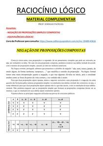 MATERIAL COMPLEMENTAR AULAS 04 e 05 - Negações e equivalências