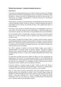 Resumo - AUTODETERMINAÇÃO DOS POVOS - DIREITO INTERNACIONAL