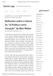 """Reflexões sobre a leitura de """"A Política como Vocação"""" de Max Weber"""