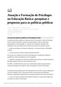 Resumo Atuação e Formação de Psicólogos na Educação Básica: pesquisas e propostas para as políticas públicas