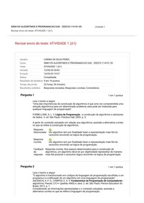 ATIVIDADE 1 (A1) algoritmos e programação