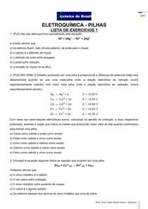 Eletroquímica - PILHAS - lista de exercícios 1 (Prof Brasil)