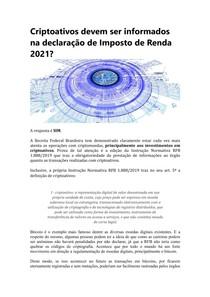 Criptoativos devem ser informados na declaração de Imposto de Renda 2021