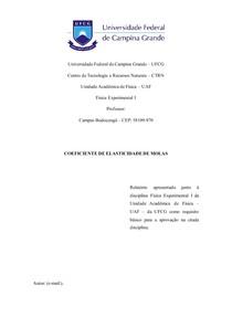 Relatório Física Experimental I- Coeficiente de Elasticidade de Molas