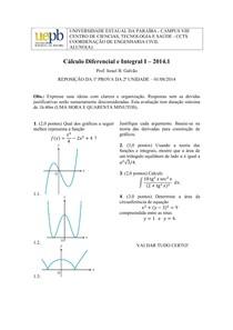CÁLCULO I - PROVA 3 - REPOSIÇÃO