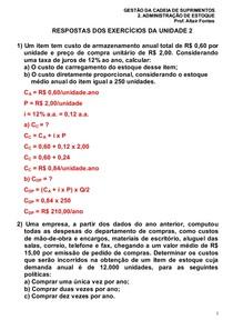 9e0b8d4f2 1- Resposta dos Exercicios da Unidade 2 - Gestão da Cadeia de