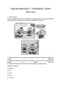 Lista de exercícios 1 - Cinemática - Enem - Silvio Vieira