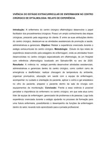 VIVÊNCIA DO ESTÁGIO EXTRACURRICULAR DE ENFERMAGEM NO CENTRO CIRÚRGICO DE OFTALMOLOGIA