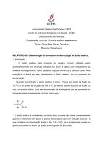 RELATÓRIO 05- Determinação da constante de dissociação do ácido acético. -