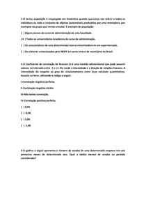 QUESTÕES OBJETIVAS DE MÉTODOS QUANTITATIVOS.