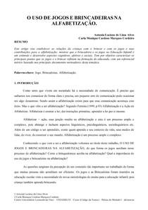 PRÁTICA INTERDISCIPLINAR VII- OFICINAS PEDAGOGICAS, O USO DE JOGOS E A BRINCADEIRAS NA ALFABETIZAÇÃO