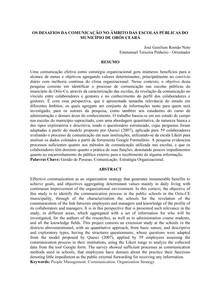 ARTIGO - OS DESAFIOS DA COMUNICAÇÃO NO ÂMBITO DAS ESCOLAS PÚBLICAS DO MUNICÍPIO DE ORÓS CEARÁ