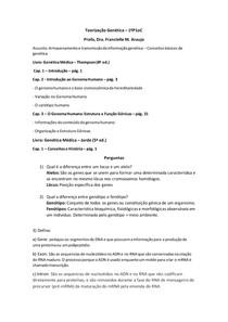 Introdução ao Genoma- Replicação- Transcrição- Tradução- Controle de expressão