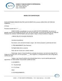 MODELO CONTESTACAO 03 10 2009 PROF DARLAN BARROSO SABADO