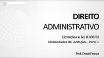 Modalidades de licitação - Apresentação (parte 1)