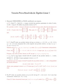 Prova 3 Resolvida de Álgebra Linear - Material para Estudo
