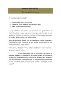 Introdução à Responsabilidade juridica e noções de Responsabilidade Civil
