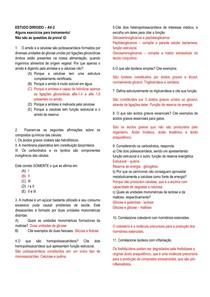 Estudo dirigido de bioquímica - carboidratos e lipídeos
