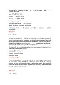 A2 DE BIOESTATÍSTICA E EPIDEMIOLOGIA EAD 2021 IBMR